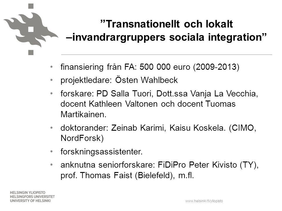 Transnationellt och lokalt –invandrargruppers sociala integration