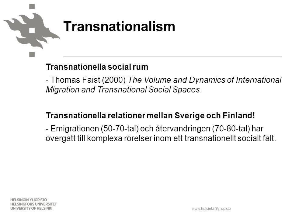 Transnationalism Transnationella social rum