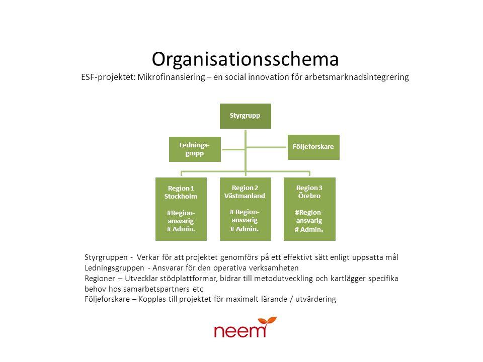 Organisationsschema ESF-projektet: Mikrofinansiering – en social innovation för arbetsmarknadsintegrering
