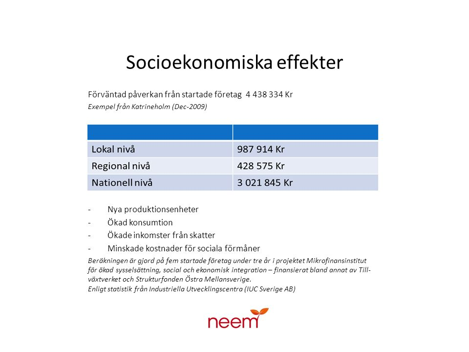 Socioekonomiska effekter