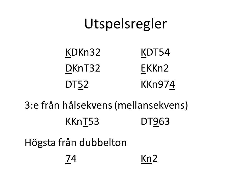 Utspelsregler KDKn32 KDT54 DKnT32 EKKn2 DT52 KKn974 3:e från hålsekvens (mellansekvens) KKnT53 DT963 Högsta från dubbelton 74 Kn2
