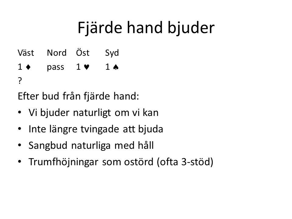 Fjärde hand bjuder Efter bud från fjärde hand: