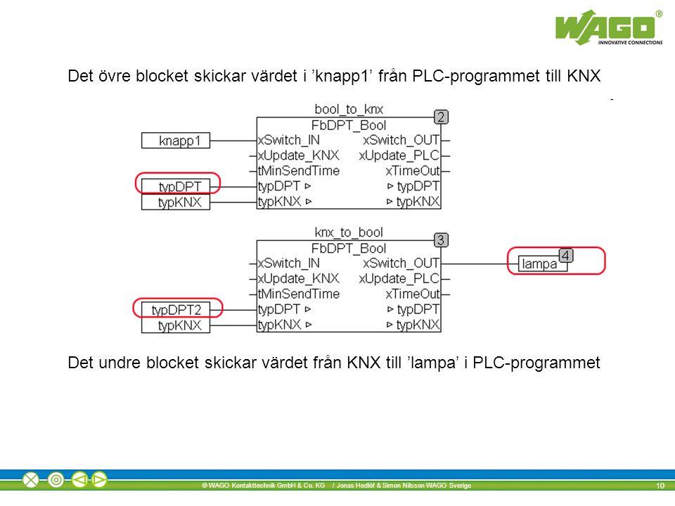Det övre blocket skickar värdet i 'knapp1' från PLC-programmet till KNX