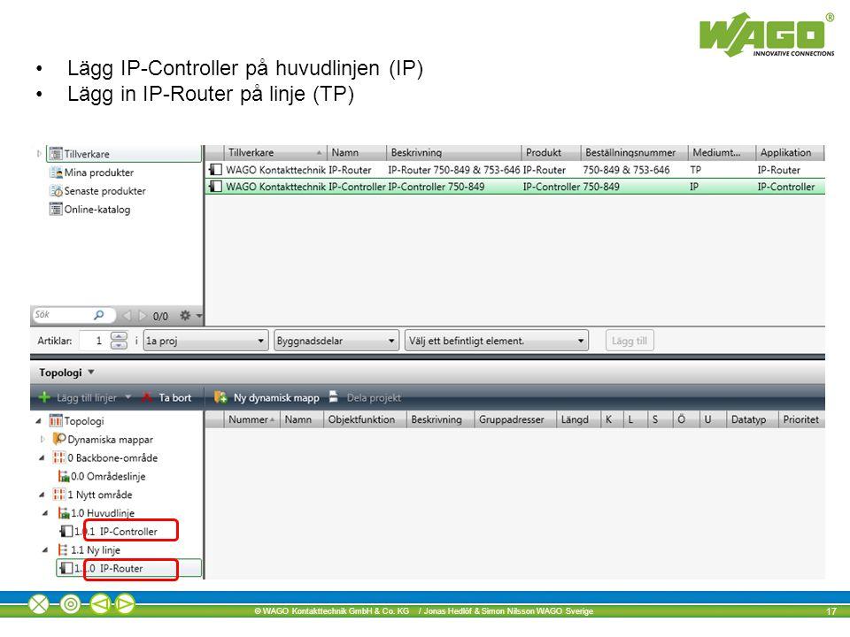 Lägg IP-Controller på huvudlinjen (IP)