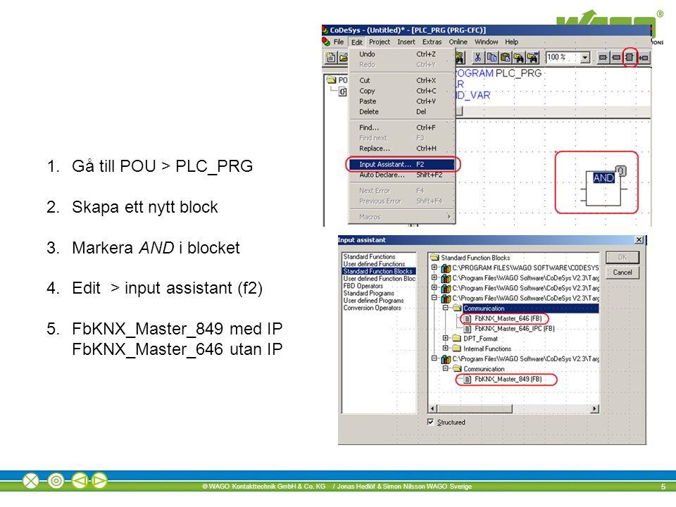 Gå till POU > PLC_PRG