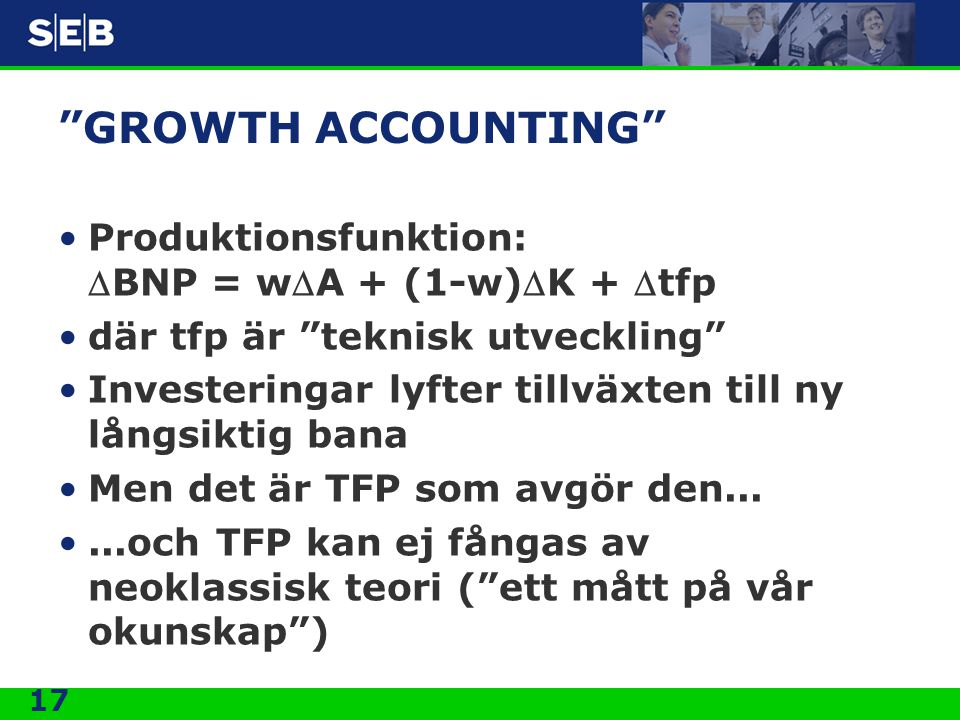 GROWTH ACCOUNTING Produktionsfunktion: DBNP = wDA + (1-w)DK + Dtfp