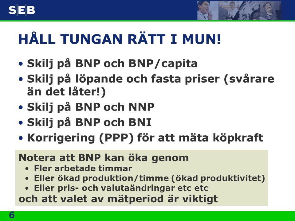 HÅLL TUNGAN RÄTT I MUN! Skilj på BNP och BNP/capita