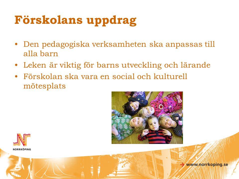 Förskolans uppdrag Den pedagogiska verksamheten ska anpassas till alla barn. Leken är viktig för barns utveckling och lärande.