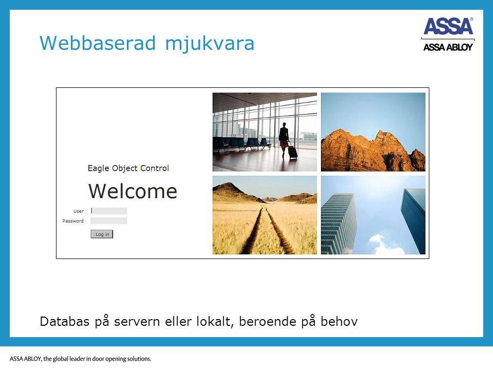 Webbaserad mjukvara Databas på servern eller lokalt, beroende på behov