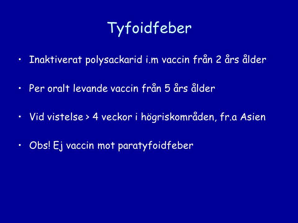 Tyfoidfeber Inaktiverat polysackarid i.m vaccin från 2 års ålder