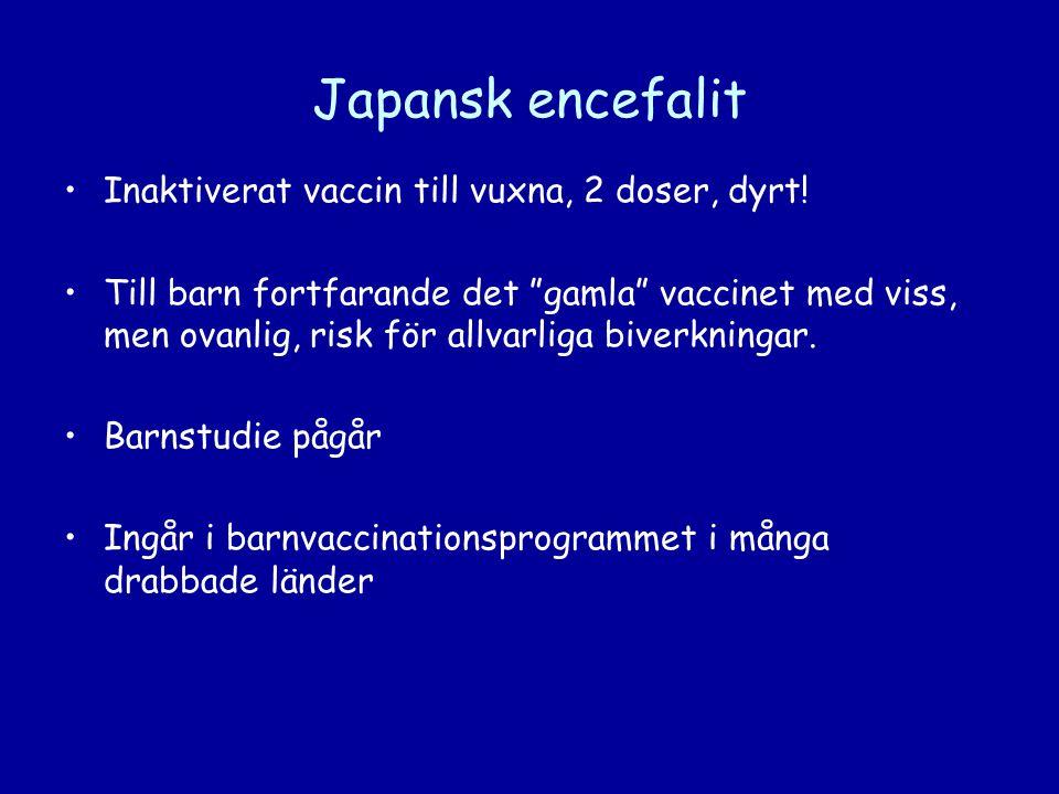 Japansk encefalit Inaktiverat vaccin till vuxna, 2 doser, dyrt!