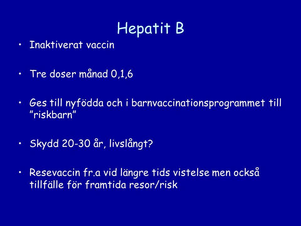 Hepatit B Inaktiverat vaccin Tre doser månad 0,1,6