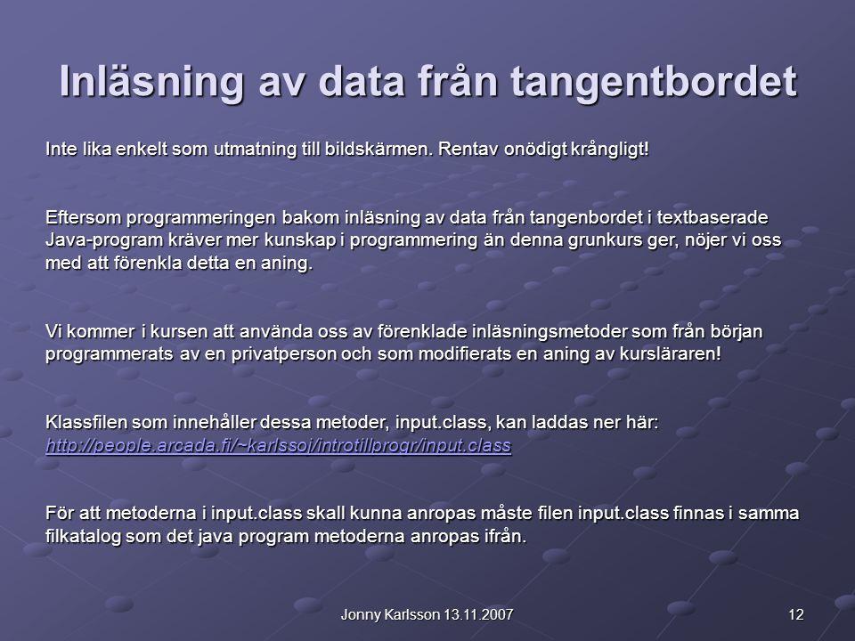 Inläsning av data från tangentbordet