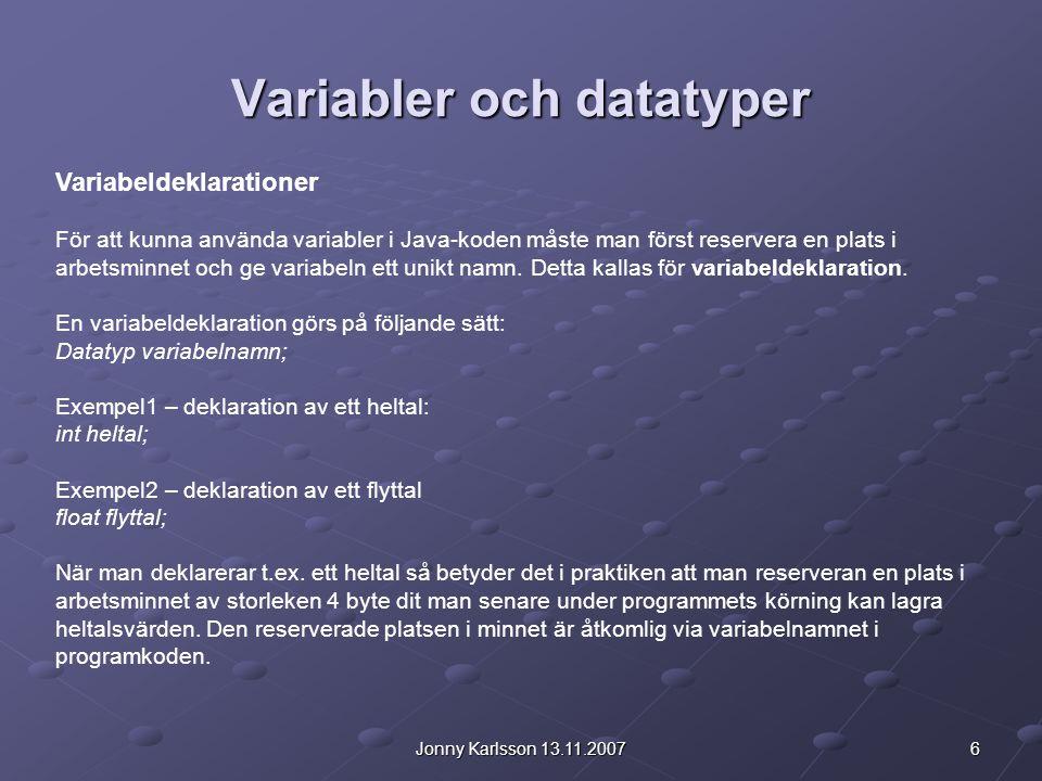 Variabler och datatyper