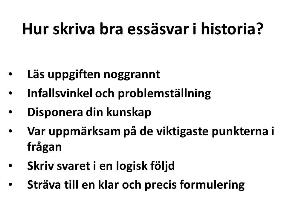 Hur skriva bra essäsvar i historia
