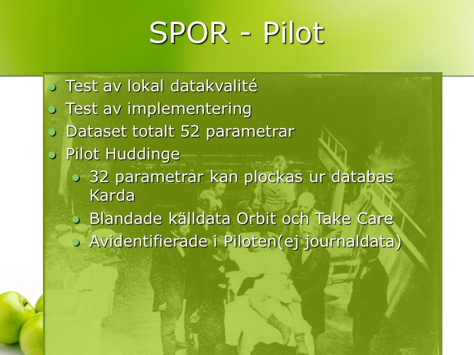 SPOR - Pilot Test av lokal datakvalité Test av implementering