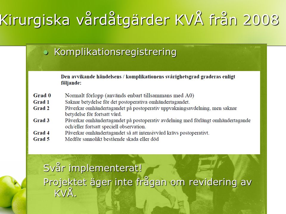 Kirurgiska vårdåtgärder KVÅ från 2008