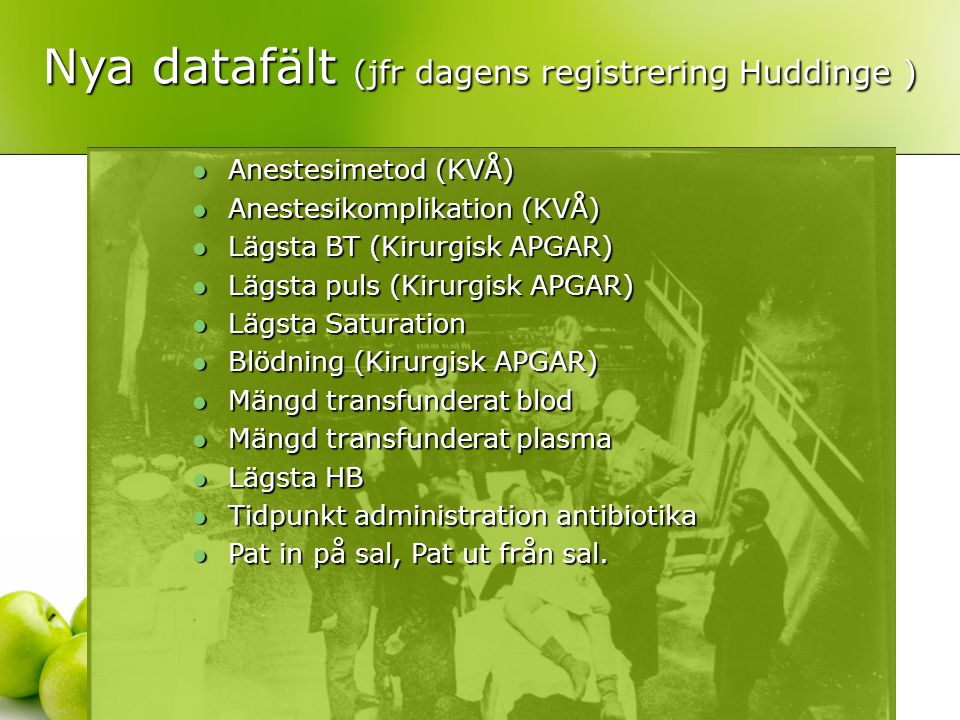 Nya datafält (jfr dagens registrering Huddinge )