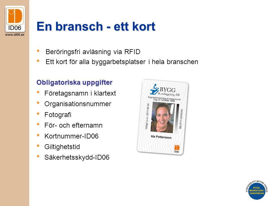 En bransch - ett kort Beröringsfri avläsning via RFID