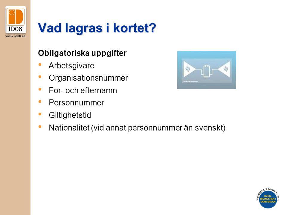Vad lagras i kortet Obligatoriska uppgifter Arbetsgivare