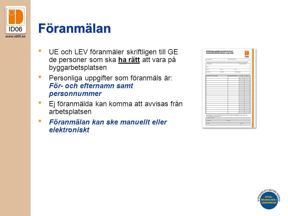 Föranmälan UE och LEV föranmäler skriftligen till GE de personer som ska ha rätt att vara på byggarbetsplatsen.