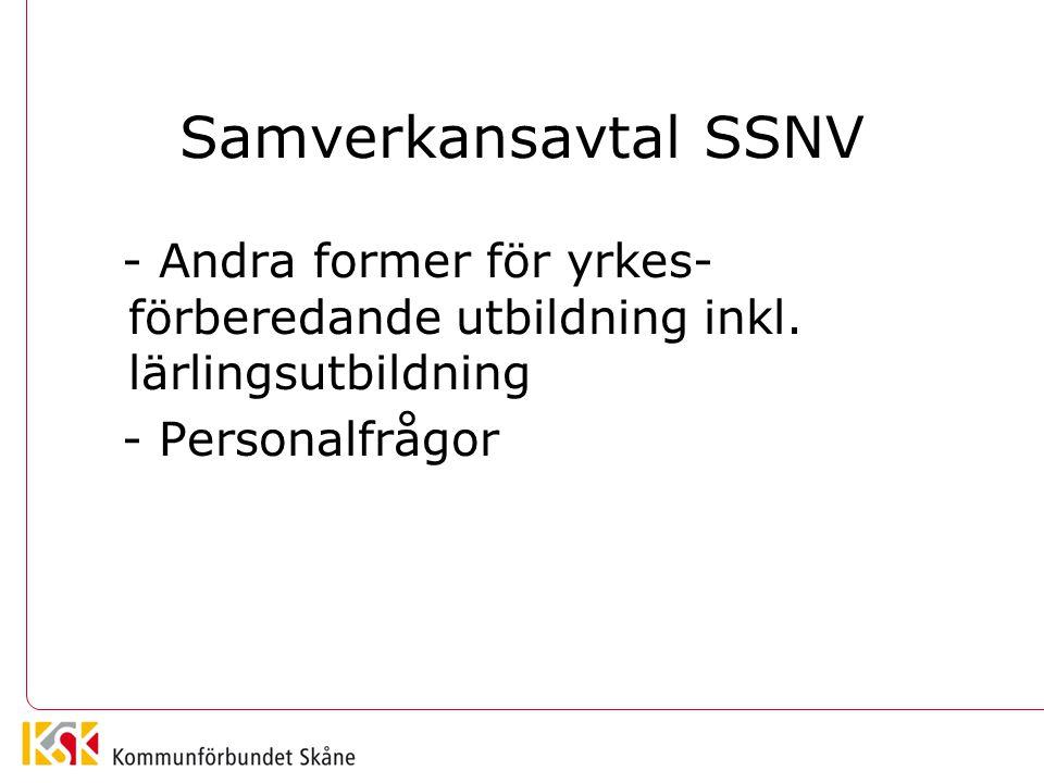 Samverkansavtal SSNV - Andra former för yrkes-förberedande utbildning inkl.