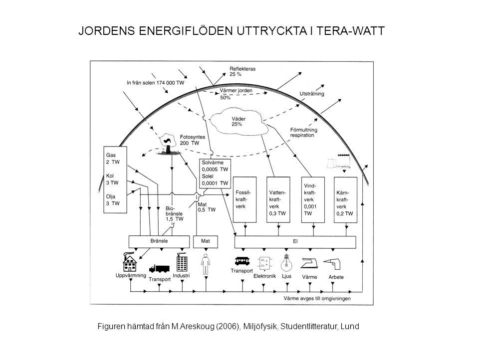 JORDENS ENERGIFLÖDEN UTTRYCKTA I TERA-WATT
