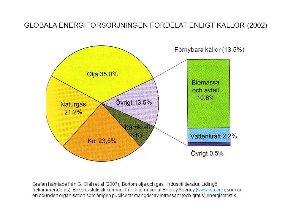 GLOBALA ENERGIFÖRSÖRJNINGEN FÖRDELAT ENLIGT KÄLLOR (2002)
