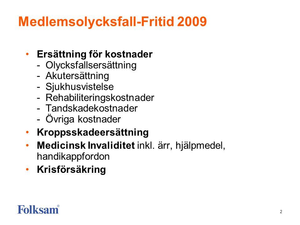 Medlemsolycksfall-Fritid 2009