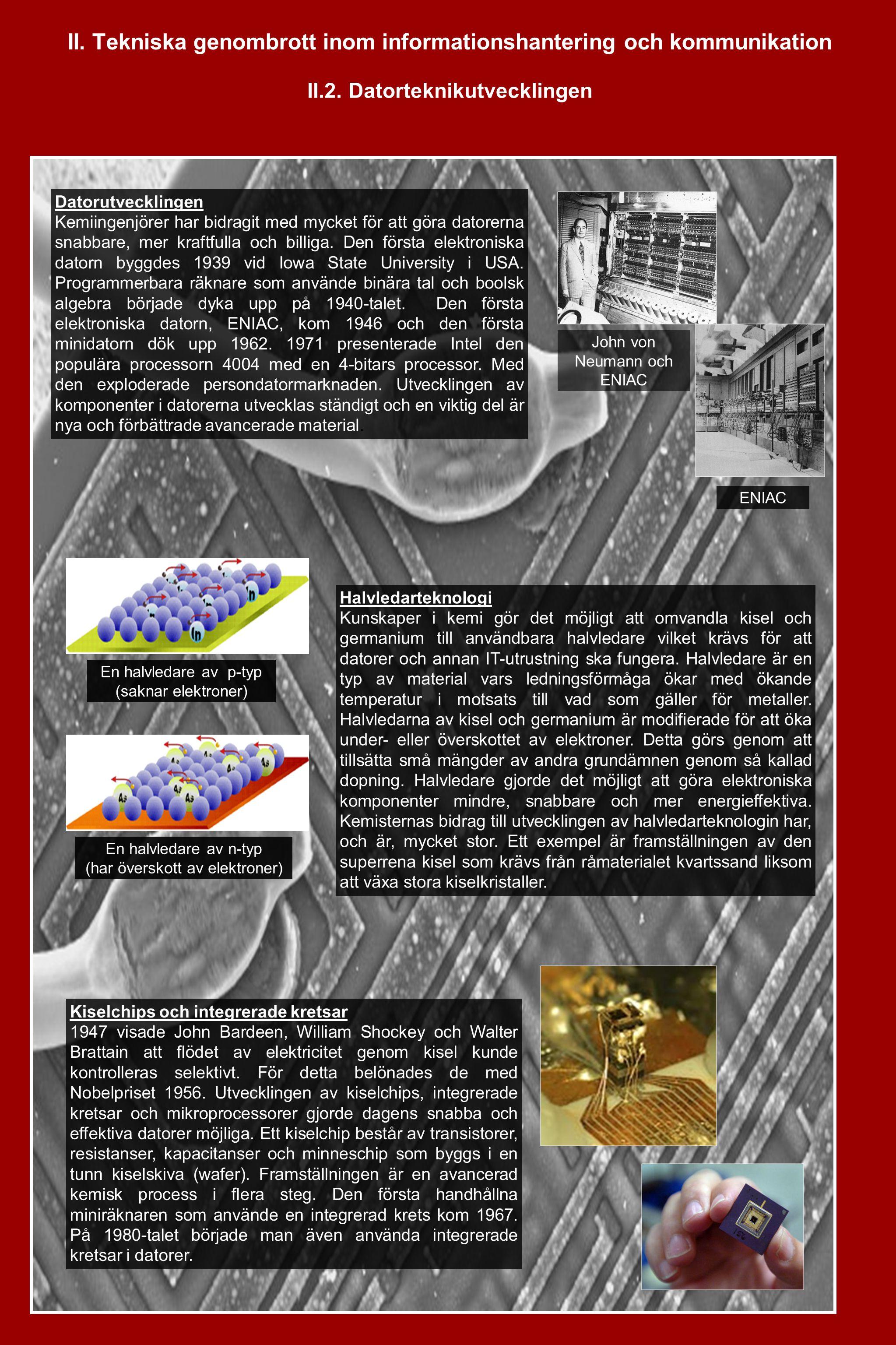 II. Tekniska genombrott inom informationshantering och kommunikation