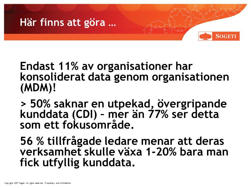 Här finns att göra … Endast 11% av organisationer har konsoliderat data genom organisationen (MDM)!