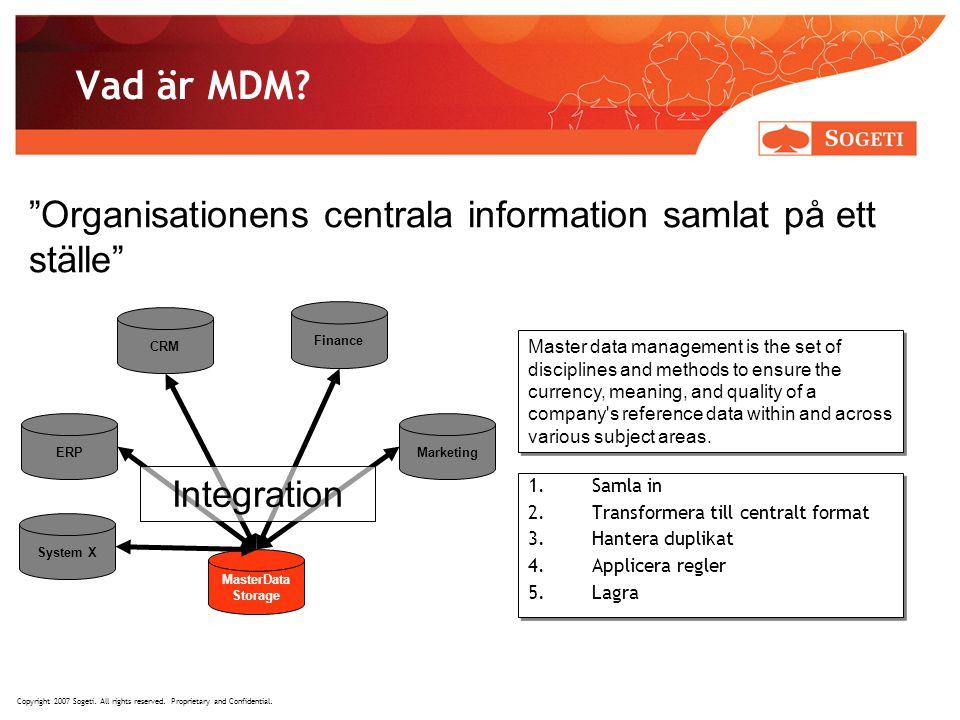 Vad är MDM Organisationens centrala information samlat på ett ställe CRM. Finance.