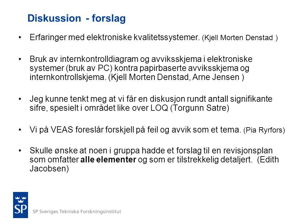 Diskussion - forslag Erfaringer med elektroniske kvalitetssystemer. (Kjell Morten Denstad )