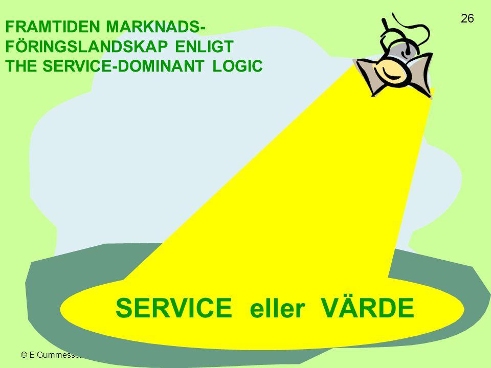 SERVICE eller VÄRDE FRAMTIDEN MARKNADS- FÖRINGSLANDSKAP ENLIGT
