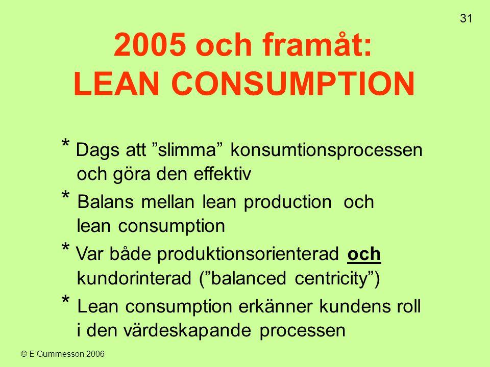 2005 och framåt: LEAN CONSUMPTION