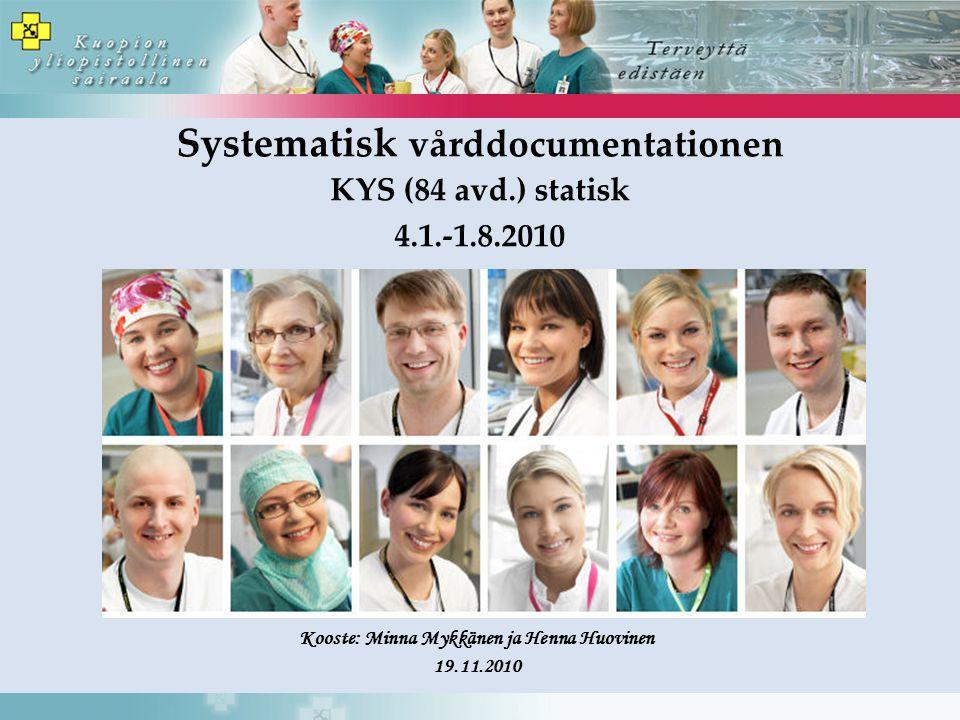 Systematisk vårddocumentationen KYS (84 avd.) statisk 4.1.-1.8.2010