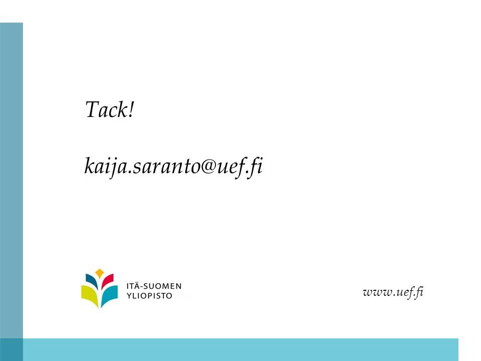Tack! kaija.saranto@uef.fi