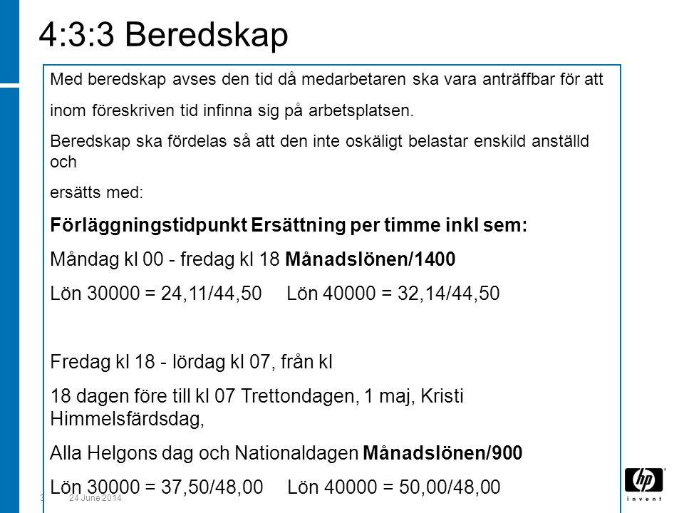 4:3:3 Beredskap Förläggningstidpunkt Ersättning per timme inkl sem: