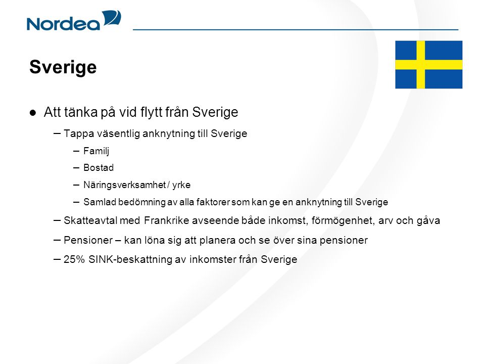 Sverige Att tänka på vid flytt från Sverige