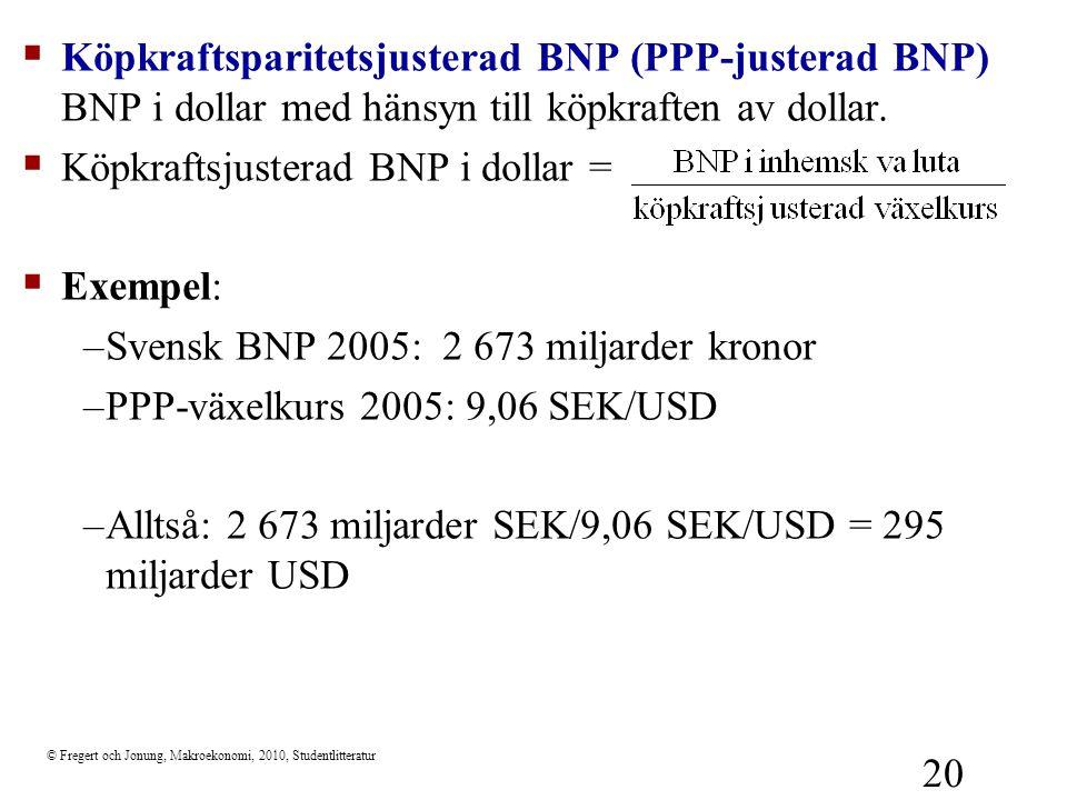 Köpkraftsjusterad BNP i dollar = Exempel: