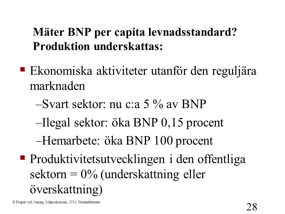 Mäter BNP per capita levnadsstandard Produktion underskattas: