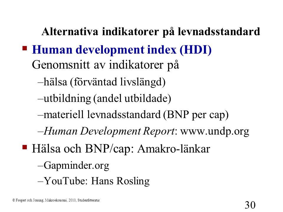 Alternativa indikatorer på levnadsstandard