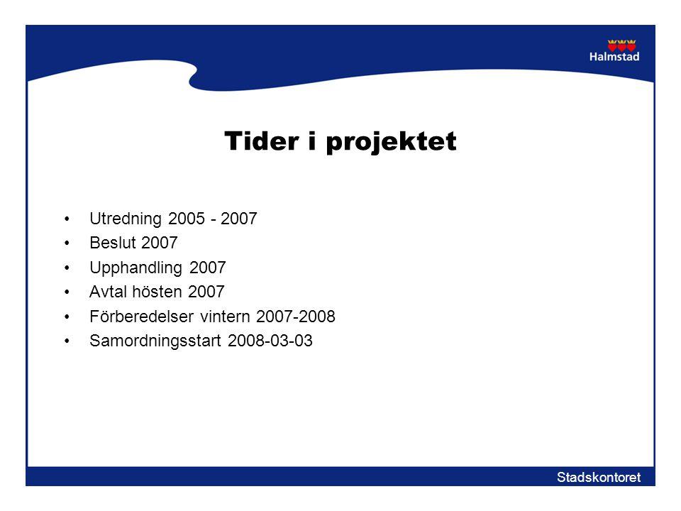 Tider i projektet Utredning 2005 - 2007 Beslut 2007 Upphandling 2007