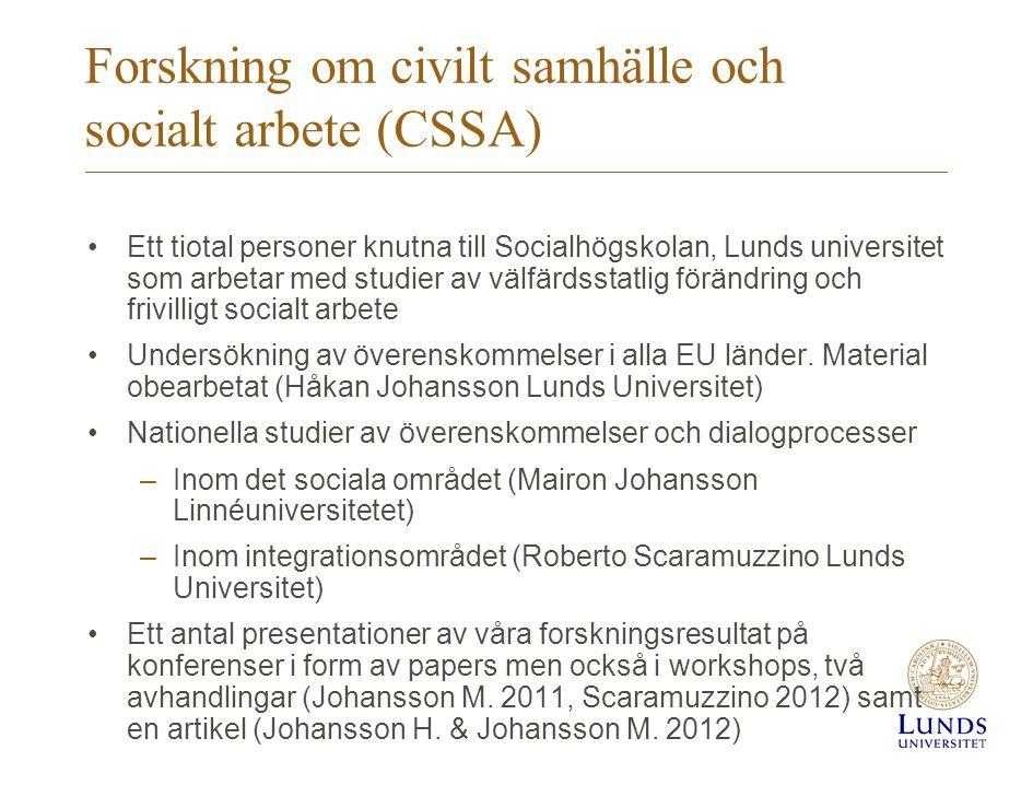 Forskning om civilt samhälle och socialt arbete (CSSA)