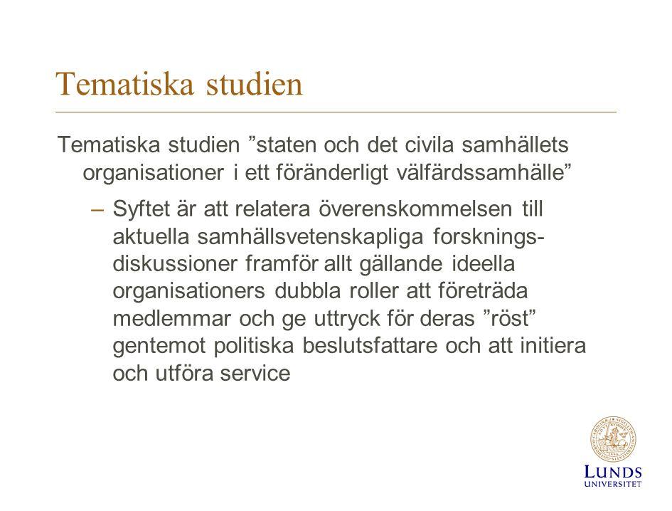 Tematiska studien Tematiska studien staten och det civila samhällets organisationer i ett föränderligt välfärdssamhälle