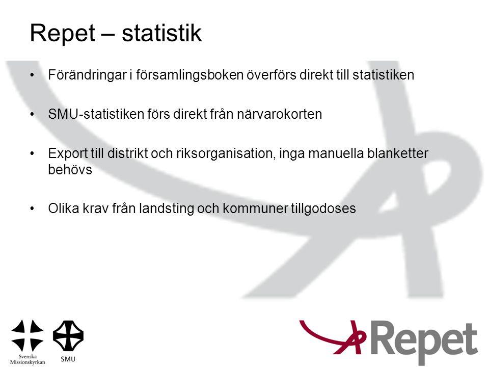 Repet – statistik Förändringar i församlingsboken överförs direkt till statistiken. SMU-statistiken förs direkt från närvarokorten.
