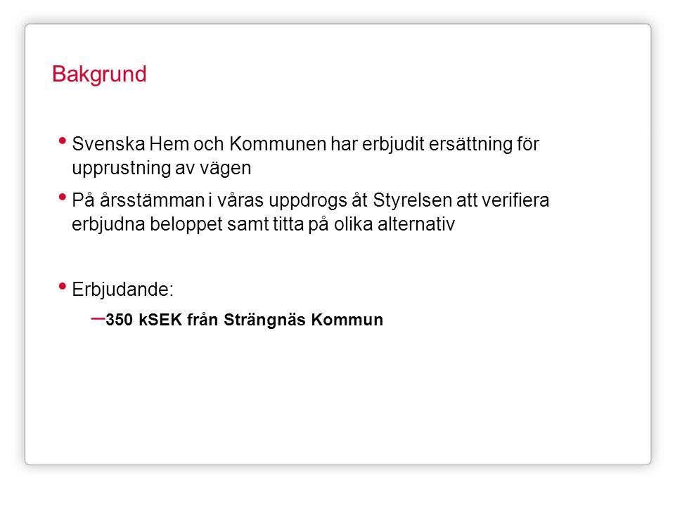 Bakgrund Svenska Hem och Kommunen har erbjudit ersättning för upprustning av vägen.