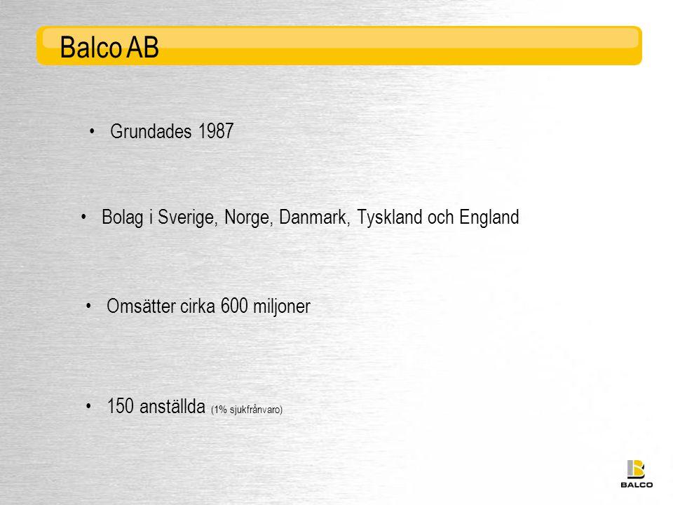 Balco AB • Grundades 1987. • Bolag i Sverige, Norge, Danmark, Tyskland och England. • Omsätter cirka 600 miljoner.