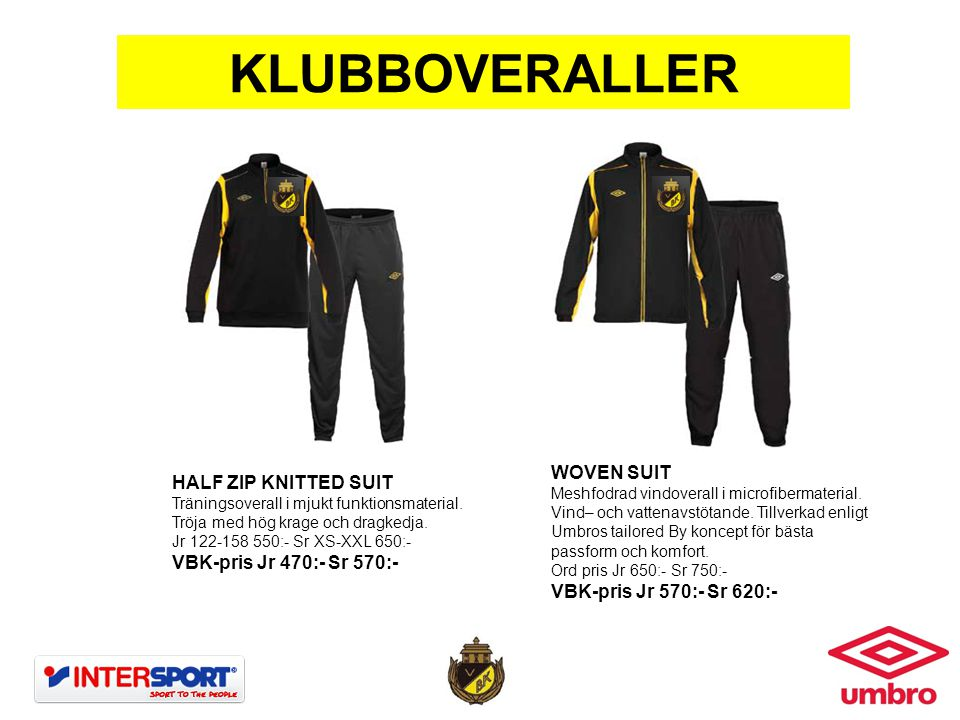 KLUBBOVERALLER WOVEN SUIT HALF ZIP KNITTED SUIT