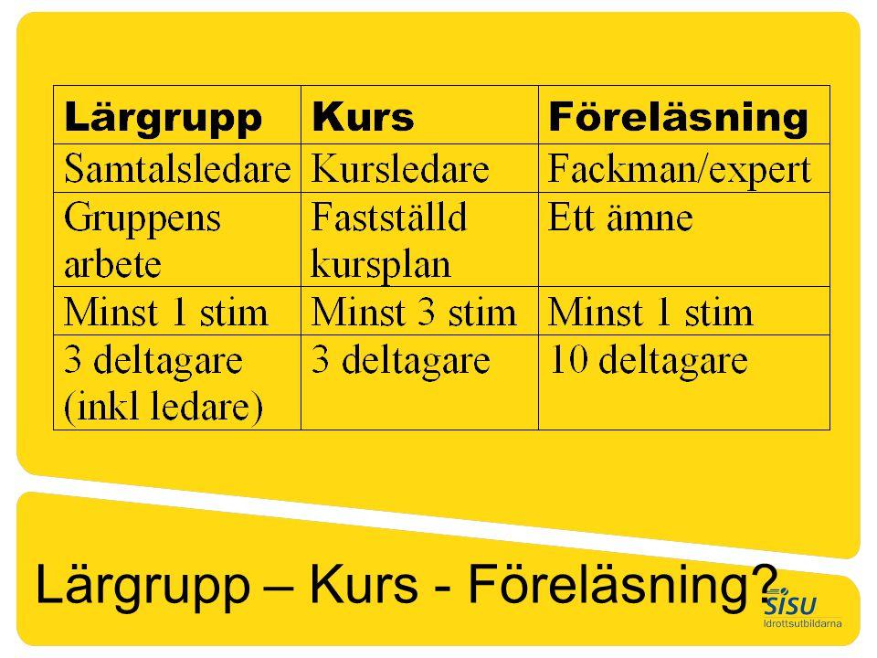 Lärgrupp – Kurs - Föreläsning